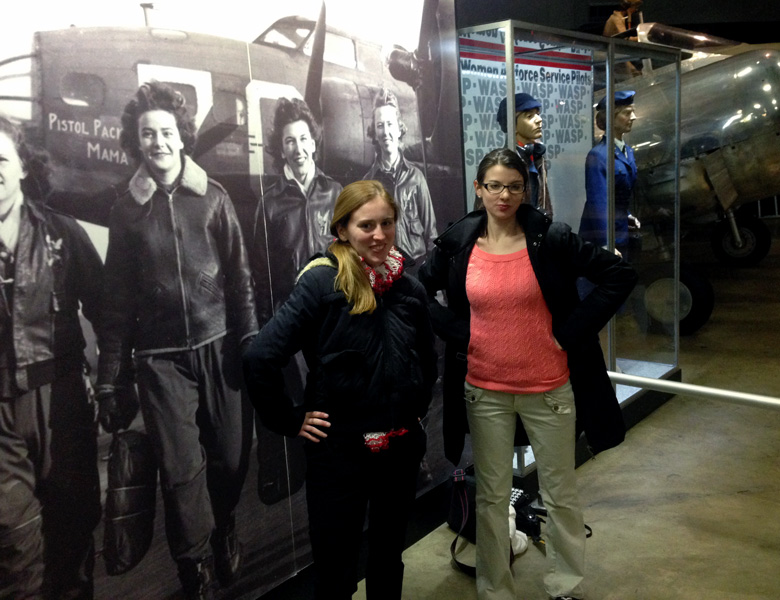 Isabelle and Taylor bring their A-game when standing next to the Women Air Force Service Pilots exhibit.