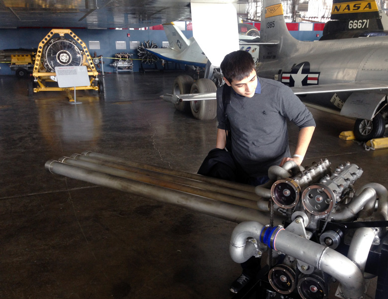 Federico spends some time looking over an engine in the Wright-Pat experimental facility.