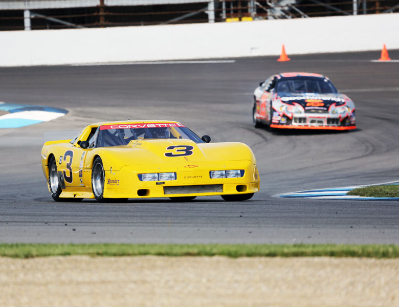 The Corvette is really easy to spot on the track! Bright yellow is the way to go.