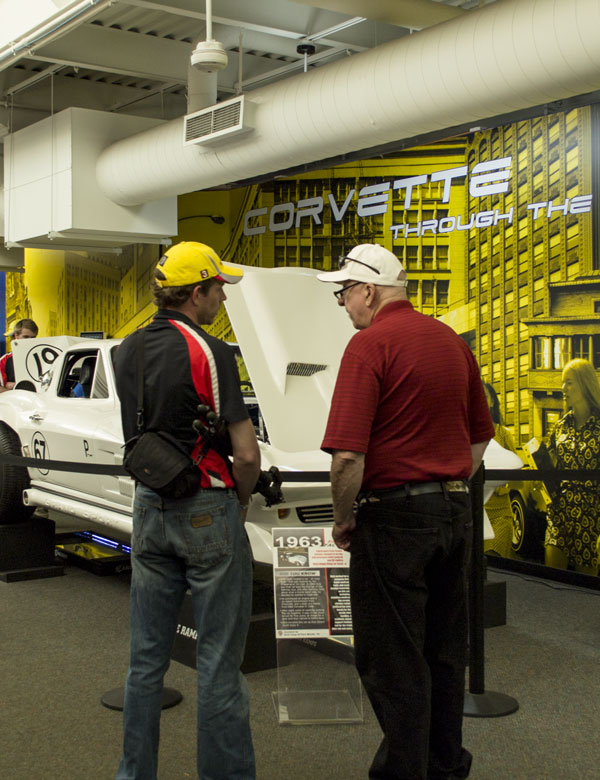Casey and Michael discuss the exhibits at the National Corvette Museum.