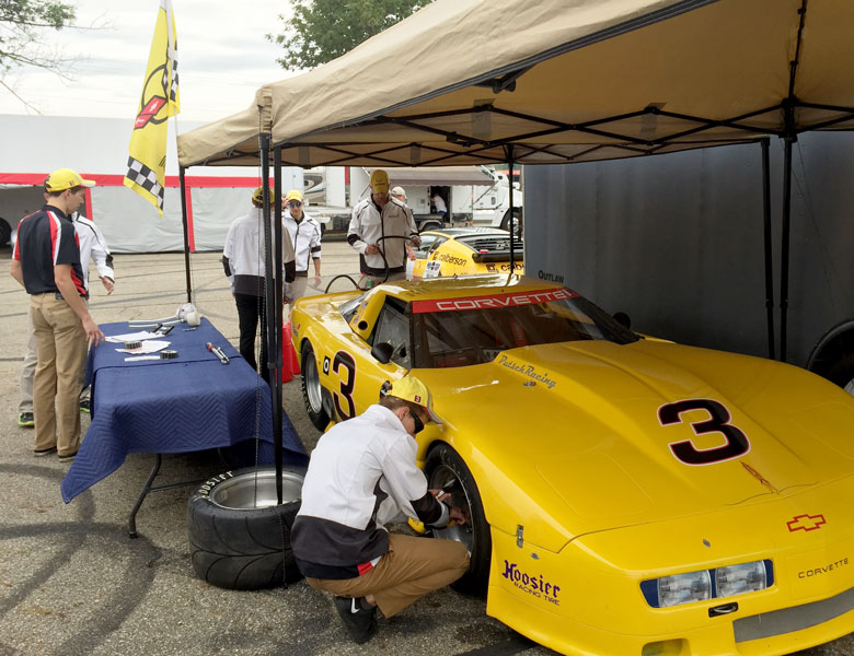 The team is getting revved up for their first race at Mid-Ohio! Everything is being checked to ensure victory.