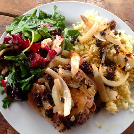 Roasted chicken thighs with couscous and salad