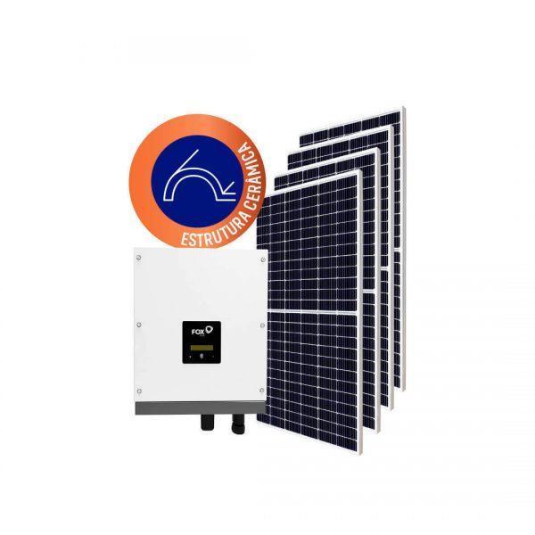 Inversor solar fotovoltaico FoxESS Modulo fotovoltaico FoxESS Stringbox Clamper Estrutura Solar Group Cerâmica