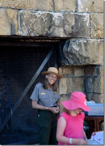 03e Gaelyn with Jr Ranger after geology talk on Lodge veranda NR GRCA NP AZ (733x1024)