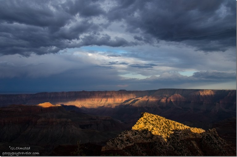 Last light Freyas Castle & canyon wall from Cape Royal North Rim Grand Canyon National Park Arizona