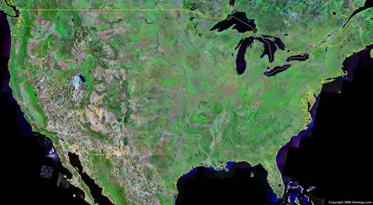 United States Map and Satellite Image United States Satellite Image