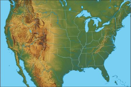 physical map of the united states united states of