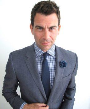 The full kit: Tonal Slate Wool & Linen Suit, Premium Cobalt Blue & Navy Gingham Shirt, Navy Linen Tie and Slate Blue Silk Lapel Pin