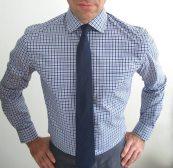 Premium Cobalt Blue & Navy Gingham Shirt and Navy Linen Tie