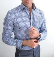 Premium Cobalt Blue & Navy Gingham Shirt