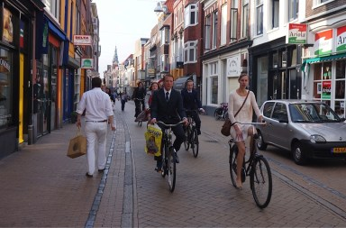 Civilized bicyclists in Groningen. Photo by Clarence Eckerson for Streetfilms.org