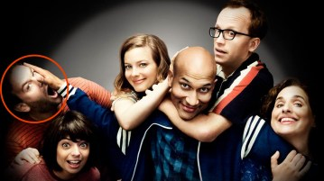 The stars of Don't Think Twice (from left to right): Mike Birbiglia (helpfully circled in red), Kate Micucci, Gillian Jacobs, Keegan-Michael Key, Chris Gethard, and Tami Sagher.