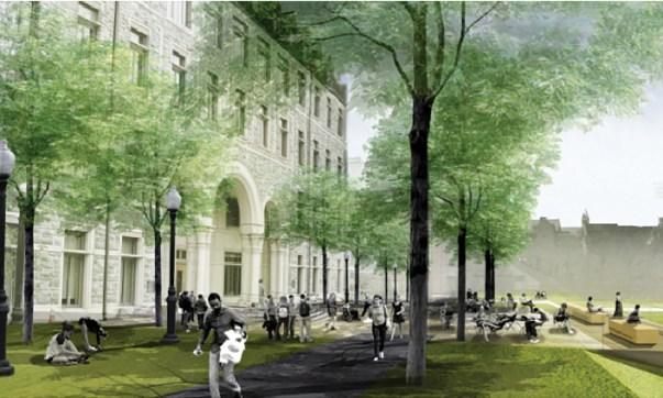 Proposed conditions outside of Rafik B. Hariri Building/Georgetown University  Campus Plan 2017-2036