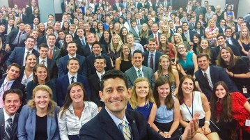 Paul Ryan takes a selfie with congressional interns via instagram.com