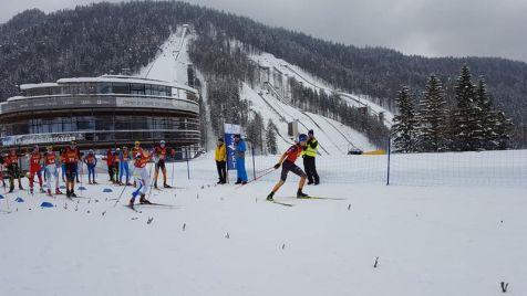 Planica départ combiné devant le tremplin vol à ski Planica