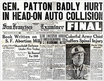 Zionistische Zeitungsmeldung des San Francisco Examiner: Patton an der Wirbelsäule schwer verletzt