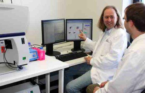 Matthias Zehner (rechts) und Prof. Dr. Sven Burgdorf vom LIMES-Institut der Universität Bonn bei der Auswertung der Zellexperimente. (c) AG Burgdorf