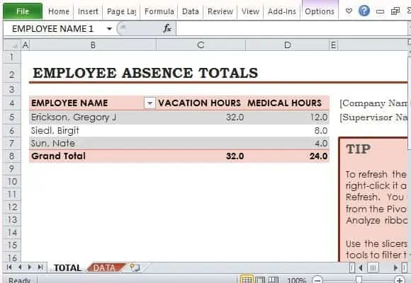 free employee vacation tracking template