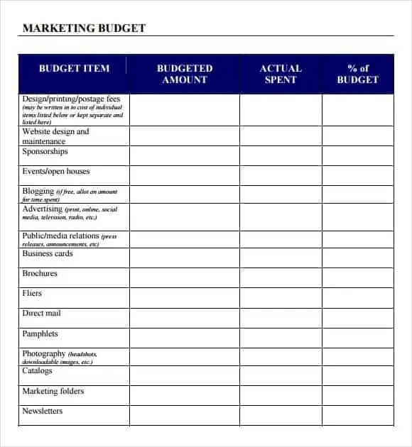 marketing plan budget template 666