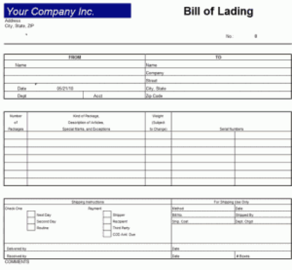 bill of lading template 8211