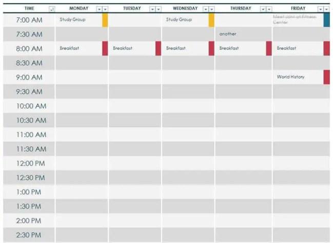class schedule template 1010
