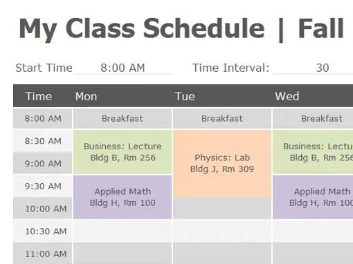 class schedule template 444