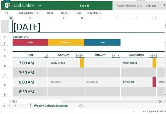 class schedule template 666