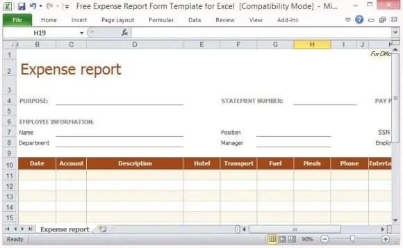 expense claim form template 744