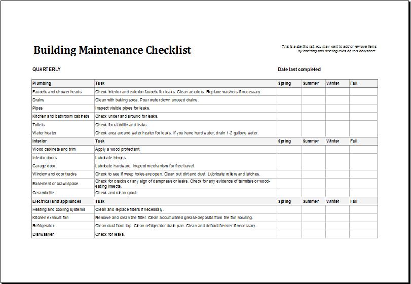 buildings maintenance checklist   Template