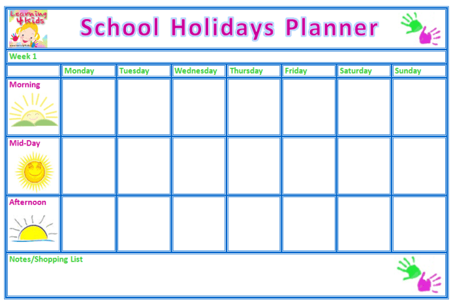 holiday planner template 341654
