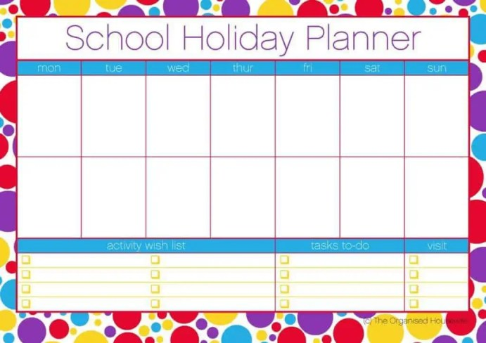 holiday planner template 8544