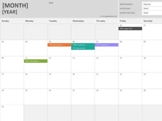 homework calendar template 333