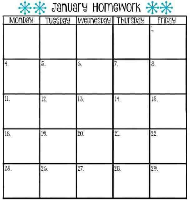 homework calendar template 555