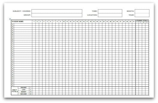 template for attendance register