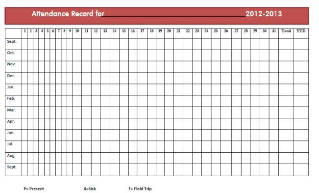 monthly attendance sheet template 555