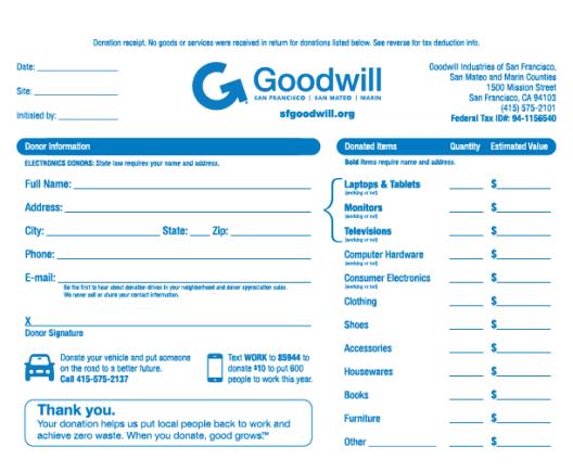 tax donation receipt Template 444