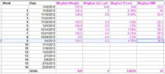 weight loss challange spreadsheet template 999