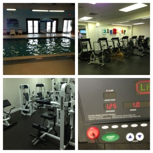 Top left: Pool Area, Top Right: Cardio Area, Bottom Left: Weight Area, Bottom Right: My first attempt on the hamster wheel.