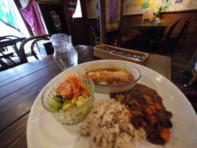 Vegetarian Tex-mex lunch plate at Otis! in Hiroshima, Japan