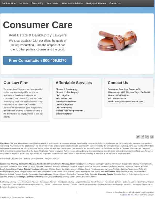 Consumer Care Law and Mike W. Johnson   Consumer Complaint   6 5 2012
