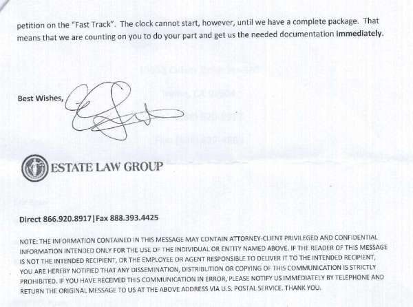 Estate Law Group / Sameer Qadri (Documentation)   Consumer Complaint   April 3, 2013