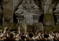 many villagers worshipping a tower