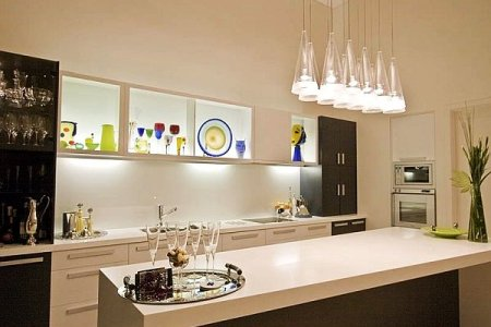 creative kitchen lighting ideas with gl cones lampshade design
