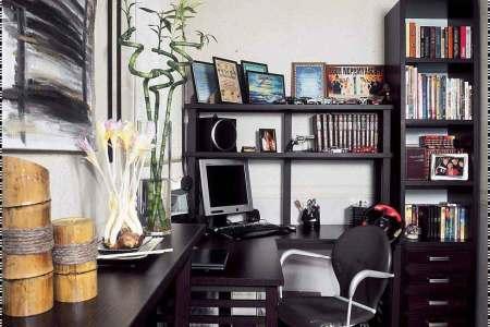 modern study room interior design with black furniture