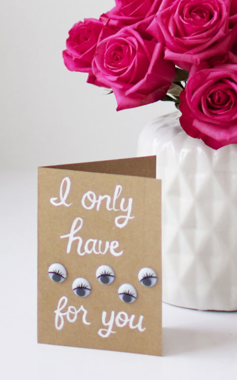 A simple brown paper card and a loving message is made better with a few googly eyes. All eyes will be on your card, that's for sure. Get the tutorial from At Home in Love »