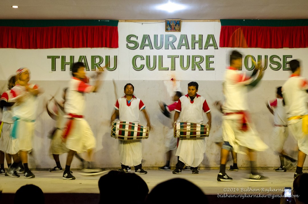 Cultural dance performance at the Tharu Cultural House.