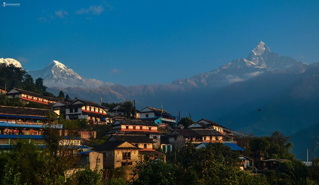 Gurung village with the Majestic Himalaya at backdrop.