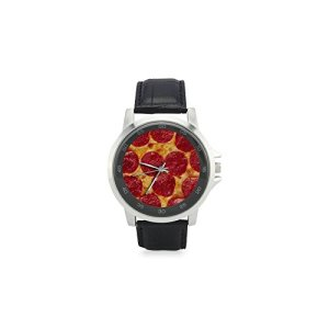 Funny-Pepperoni-Pizza-Unisex-Metal-Silver-Stainless-Steel-Leather-Strap-Watches-Wrist-Watch-Watch-Face-Diameter-14-0