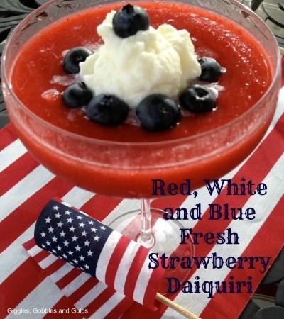 Red, White and Blue Fresh Strawberry Daiquiri Recipe with Spiked Rum Crema