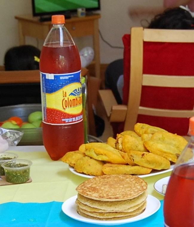 corn arepas, empanadas and ají picante